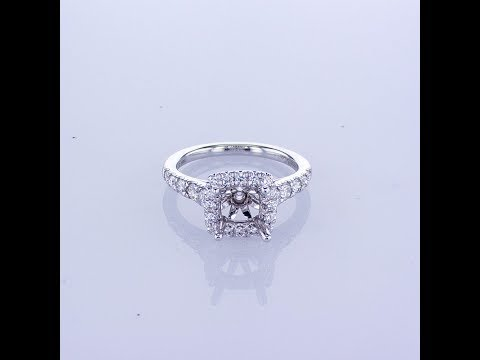0.70CT 14k White Gold Round Halo Diamond Engagement Ring