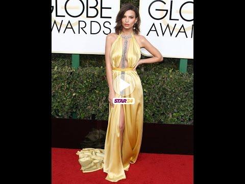 Emily Ratajkowski : La belle dévoile ses sous-vêtements sur le red carpet des Golden Globes Awards
