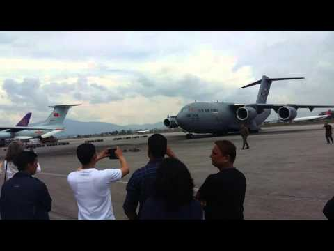 US air force landed in Nepal after earthquake 2015