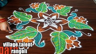 #SIMPLE BEAUTIFUL PEACOCK RANGOLI DESIGN FOR BEGINNERS WITH 5DOTS MADE EASY TO DRAW FOR EVERYONE