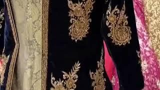 Bridal Anarkali Blue Velvet Jacket