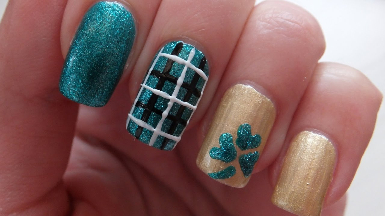 Nail Art Ideas shamrock nail art tutorial : St. Patrick's Day Easy Plaid And Shamrock Nail Art Design Tutorial ...