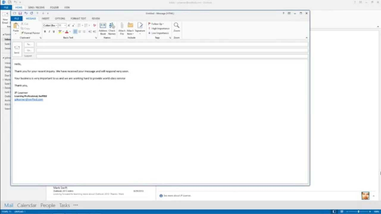 Outlook 2013- How to Create an Email Template - YouTube