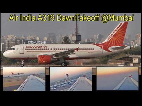Air India Airbus A319 Dawn Takeoff from Mumbai VABB