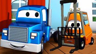 Carl el Camión Transformador y la Carretilla Elevadora en Auto City | Dibujos animados para niños
