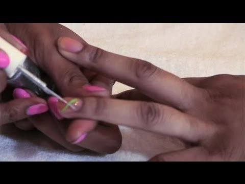 how to draw a simple line in nail art with brushon nail
