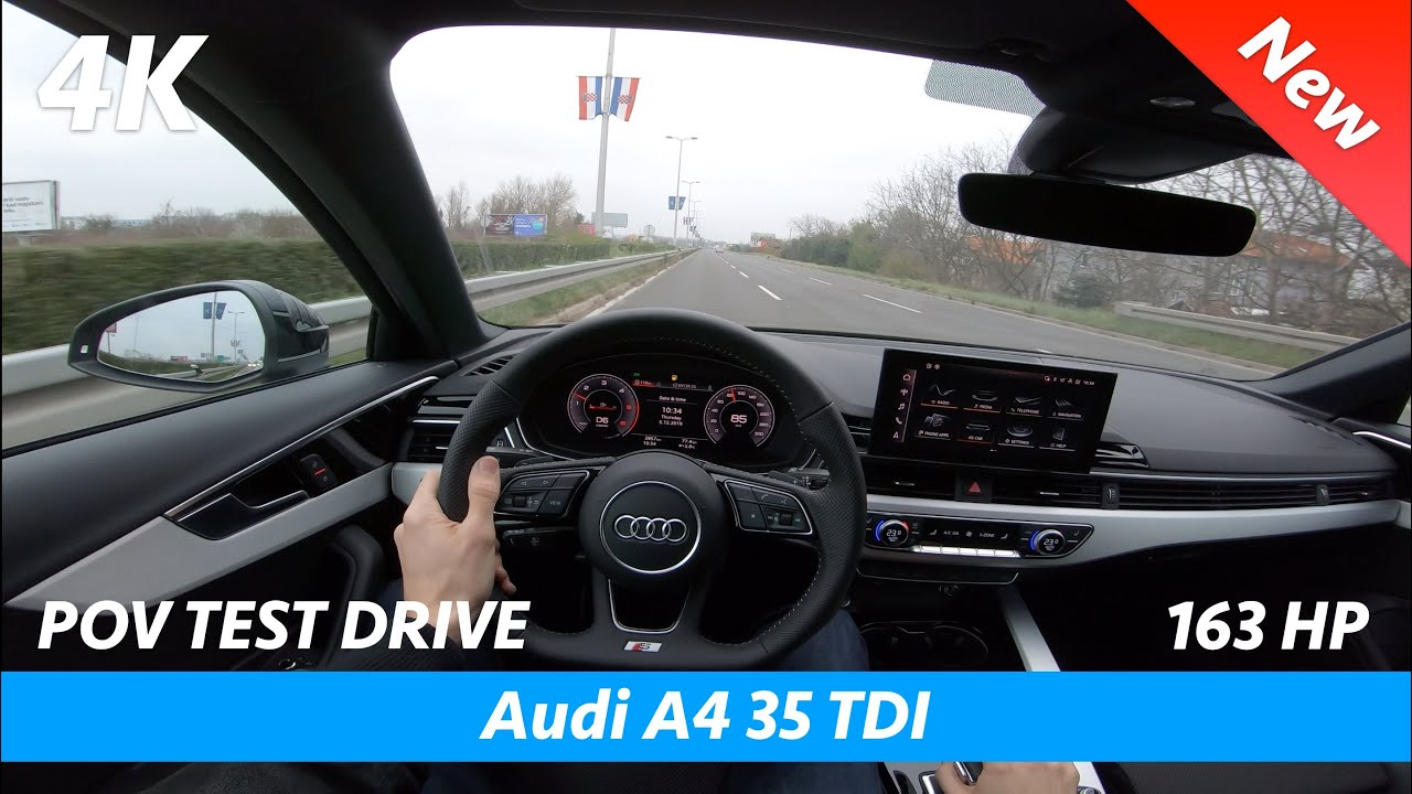 Audi A4 S Line FL 2020 - POV test drive in 4K | 35 TDI - 163 HP (Acceleration 0 - 100 km/h)