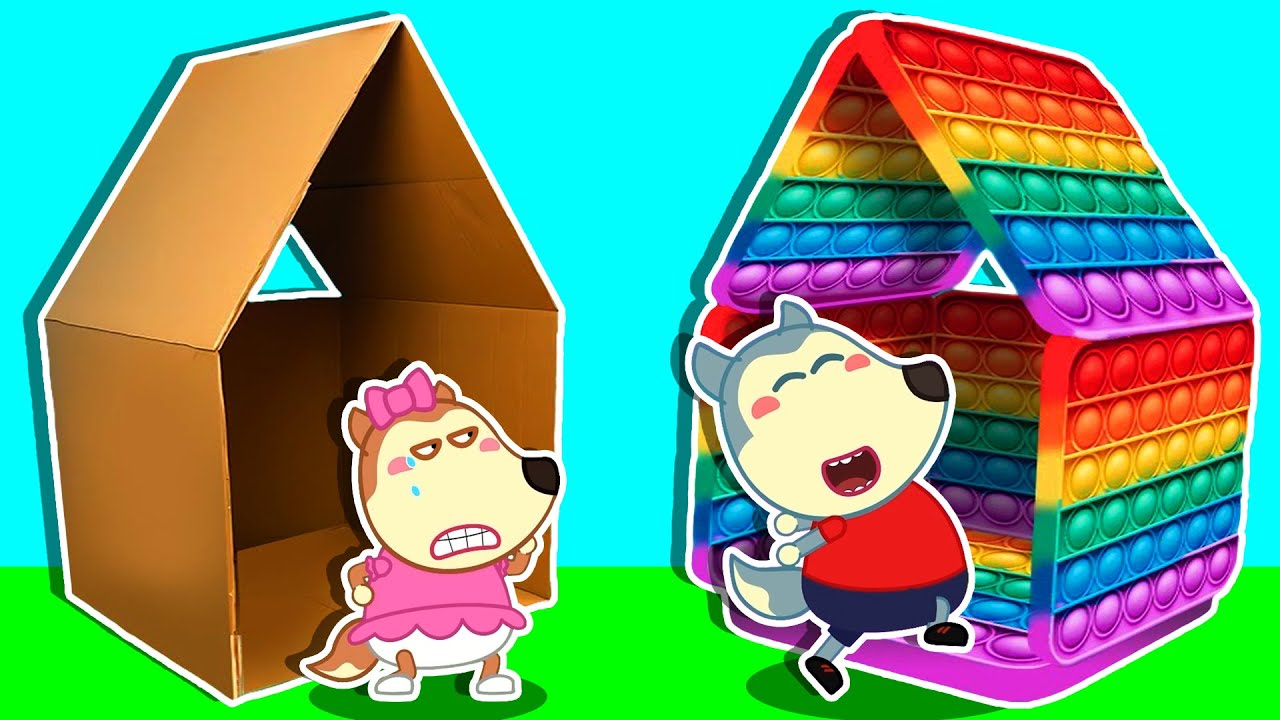 LYCAN Arabic 🌟 Lycan and Ruby Builds DIY Rainbow Pop It Playhouse | Lycan's Funny Stories For Kids