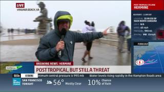 Mike Seidel TWC Tropical Storm Hermine with Kerry Sanders VA Beach, VA 9-3-2016
