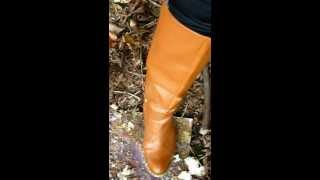 brown tall leather high heel boots trampling and crushing 63