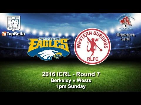 2016 ICRL Round 7 Delayed Broadcast - Berkeley Eagles v Western Suburbs Devils