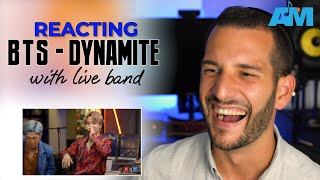 VOCAL COACH reacts to BTS singing DYNAMITE with a LIVE BAND