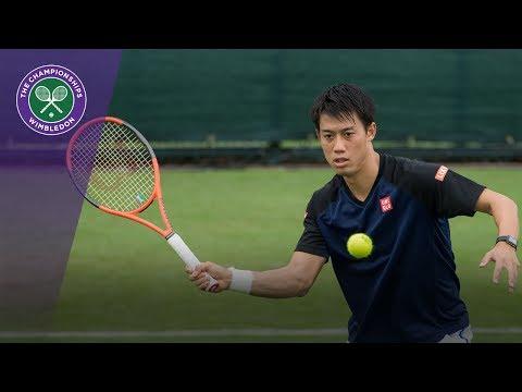 Kei Nishikori practices at Wimbledon 2017