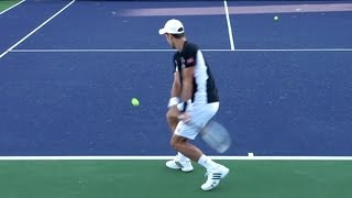 Novak Djokovic Forehand and Backhand from Back Perspective - Indian Wells 2013