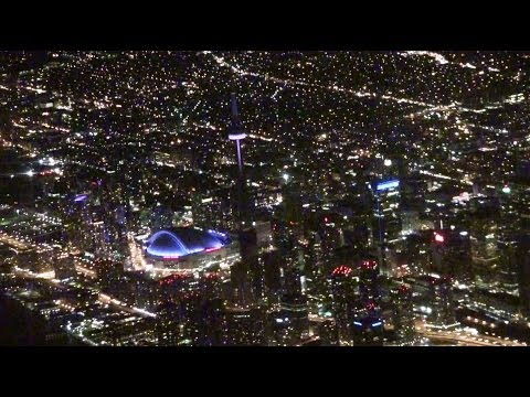 Toronto Pearson Airport Landing at night YYZ 2013 WestJet