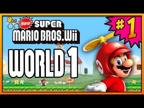 New Super Mario Bros Wii 100% Walkthrough Part 1 - World 1 (1-1, 1-2, 1-3 & 1-Tower) All Star Coins