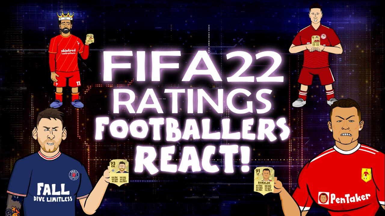 🎮FIFA 22 RATINGS - FOOTBALLERS REACT🎮 (Feat Lewandowski Ronaldo Messi Neymar & More)