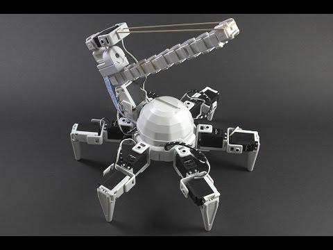 Elastic Turret Hexapod Robot Aims & Fires Elastic Bands