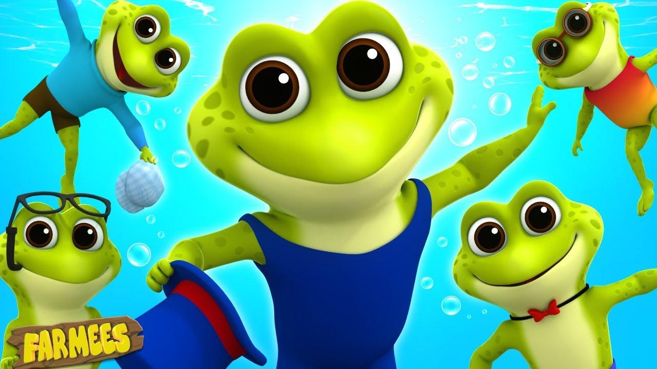 Five Little Speckled Frogs | Cartoon Videos | Nursery Songs by Farmees