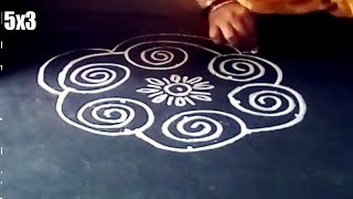 Simple kolam rangoli designs with 5x3 dots made easy to draw for everyone