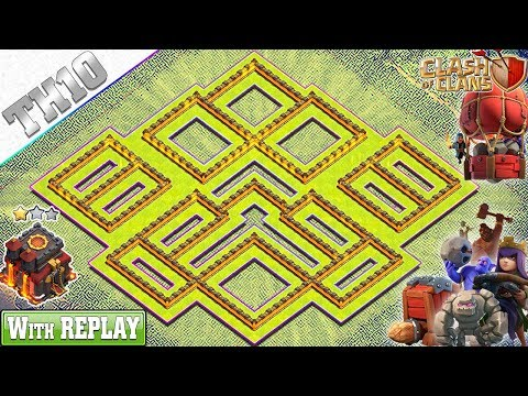 NEW BEST TH10 HYBRID Base 2019 with REPLAY | COC TH10 Base - Clash of Clans