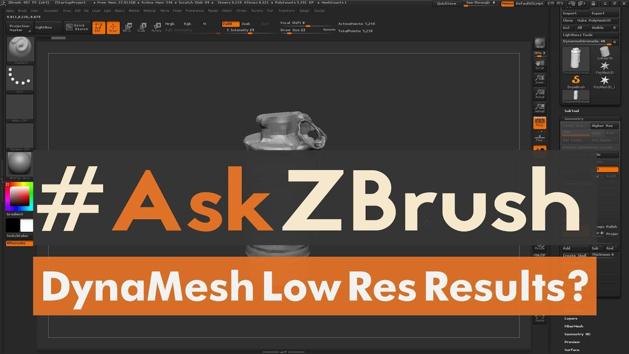"#AskZBrush: ""DynaMesh is generating low resolution results? What is happening?"""