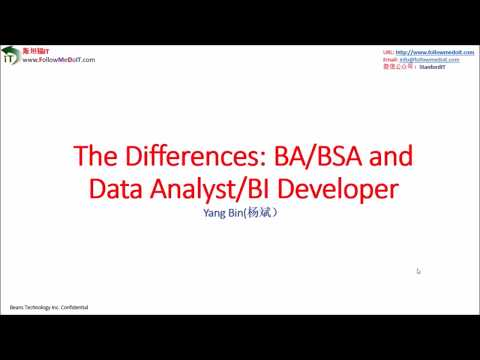 Yang Bin(杨斌):IT求职,别混淆Business Analyst和Data Analyst, 什么是Business Analyst?什么是Data Analyst??