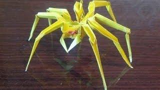 Паук оригами, spider origami(Как сделать из бумаги паука, spider origami Сайт оригами http://origamiart.ru/ Бумага - цветная, с двух сторон одного цвета..., 2014-06-21T20:34:35.000Z)