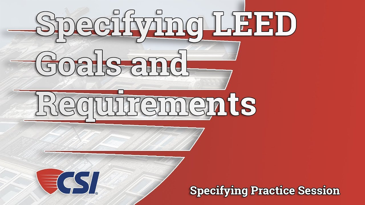 Specifying Leed Goals And Requirements Youtube