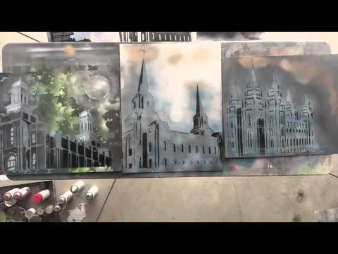 LDS Artist Creates Awesome Temple Art with Spray Paint and Stencils