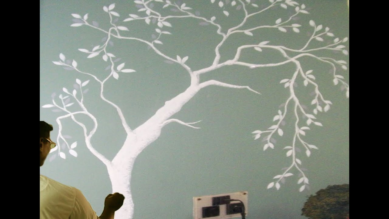 How To Draw A Tree Painting On The Wall Paint With