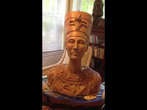 Egyptian Queen Nefertiti Sculpture: Life size replica sculpted from oil based clay.