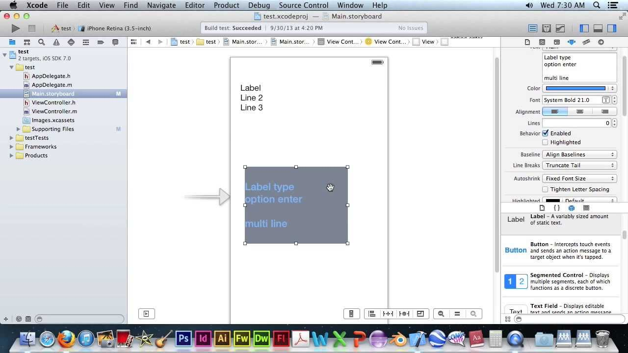 Xcode Multi Line Label Lesson