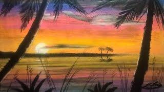 Easy Soft Pastel Sunset Beach Scene