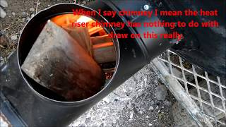 "6"" stove pipe rocket stove heater 55 gallon drum version first good burn test"