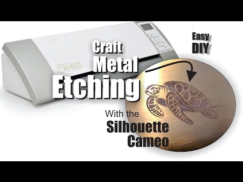 Silhouette Cameo craft Metal Etching with cut vinyl stencils