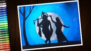 Janmashtami drawing (Krishna) with oil pastel for beginners - step by step