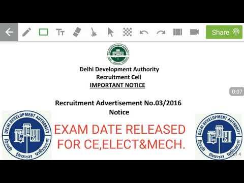 Delhi development authority DDA released admit card for advt. No 03/2016.