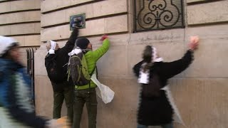 Climate activists protest French bank