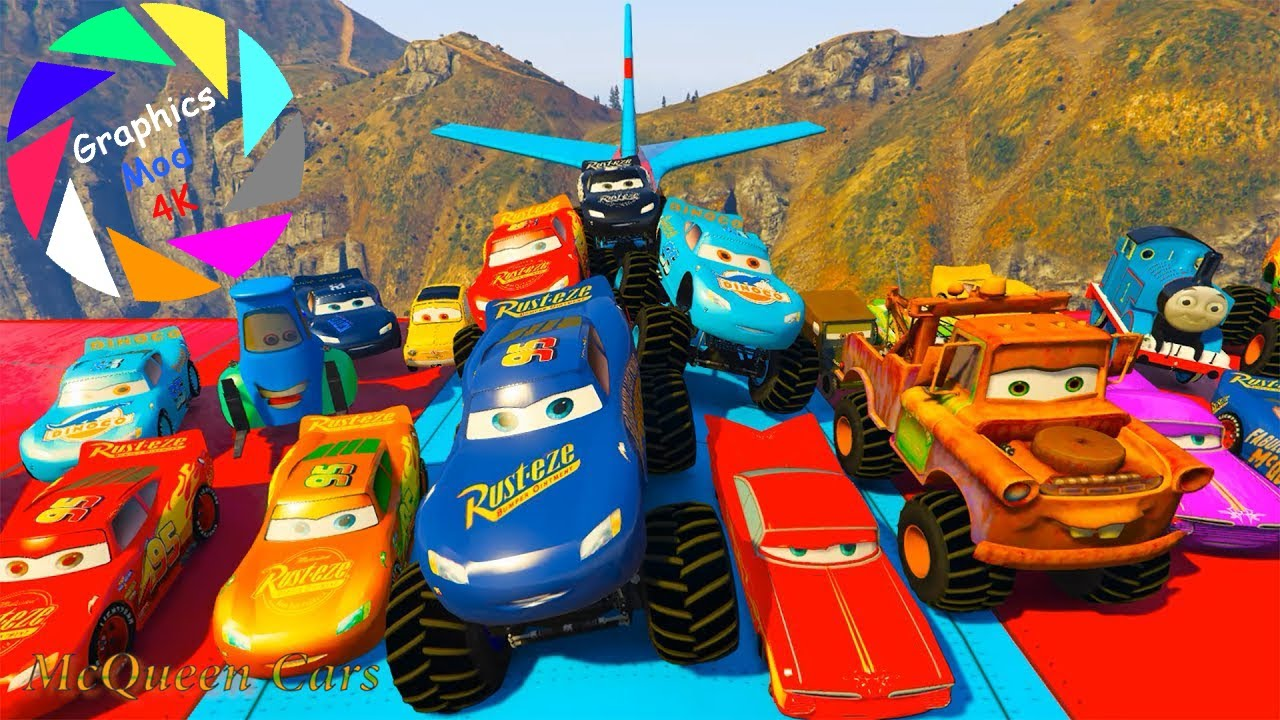 Cars 3 Fabulous Lightning McQueen Monster Truck Cars 3 Colors Jackson Storm Cruz Ramirez in Trouble!