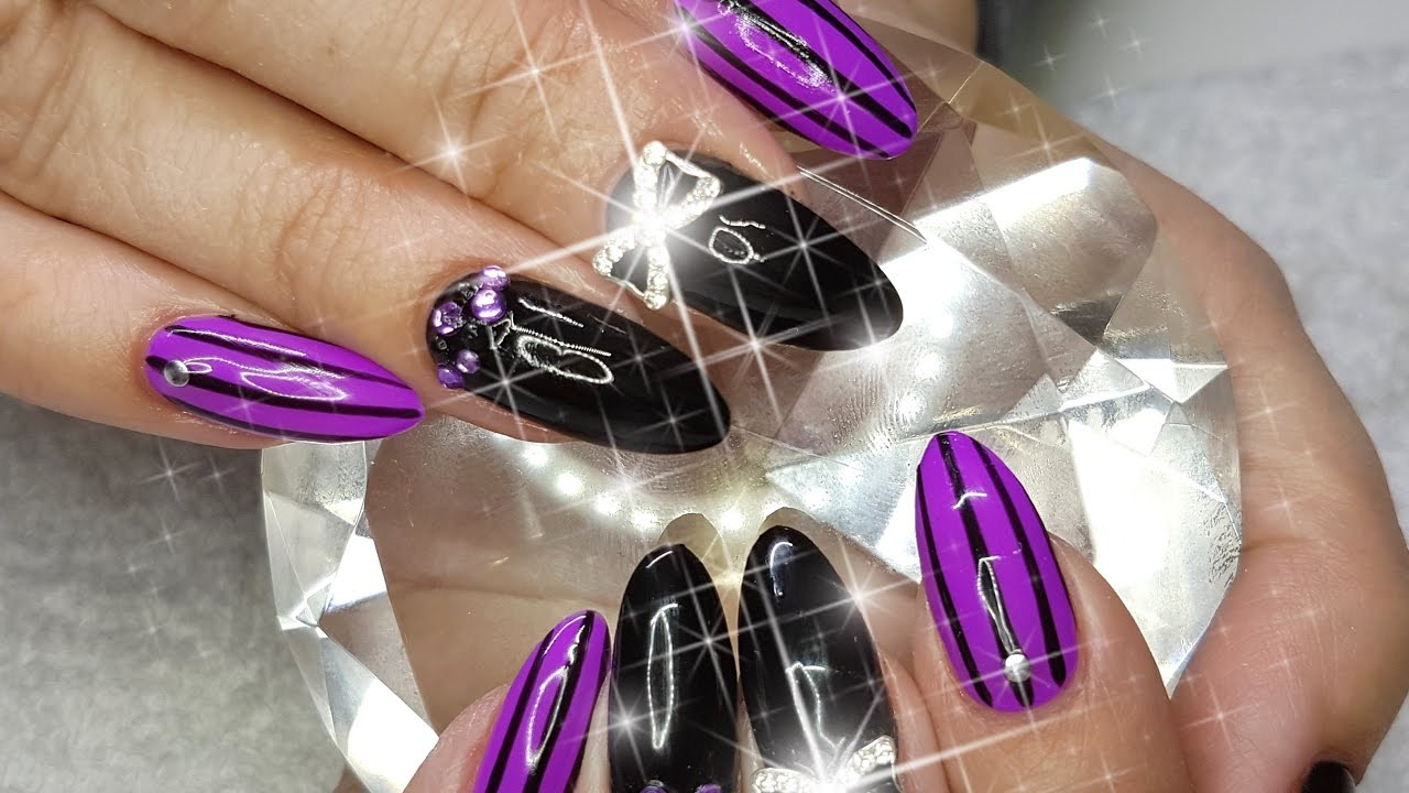 Acrylic Nails Purple Black With A Hint Of Silver Nail Design Youtube