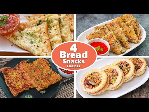 4 Easy Bread Snacks Recipes | Chili Cheese Toast | Bread omelet | Besan Bread | Disc Pizza | toasted