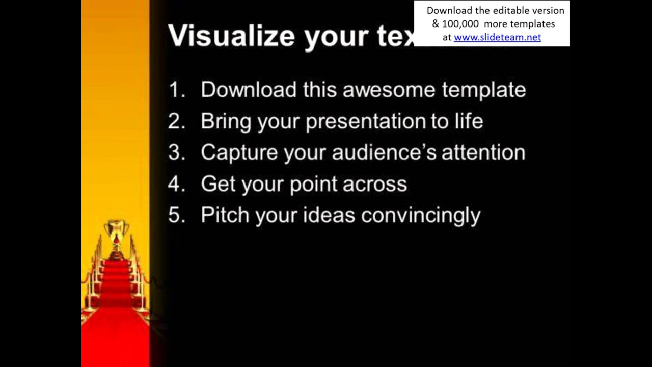 golden cup on red carpet winner success powerpoint templates and