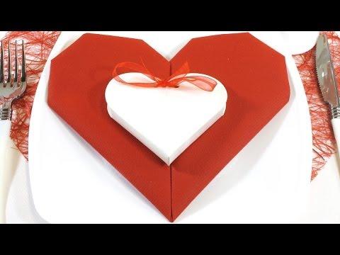 pliage de serviette en forme de cœur - youtube
