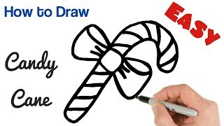 How to Draw Candy Cane Easy | Christmas Holiday Drawings for beginners