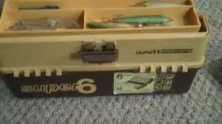 Vintage Super 6 Old Pal Woodstream Tackle Box, Full of plastic Lures & Misc
