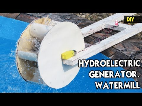 How to make a mini HYDROELECTRIC GENERATOR   DIY PVC Watermill