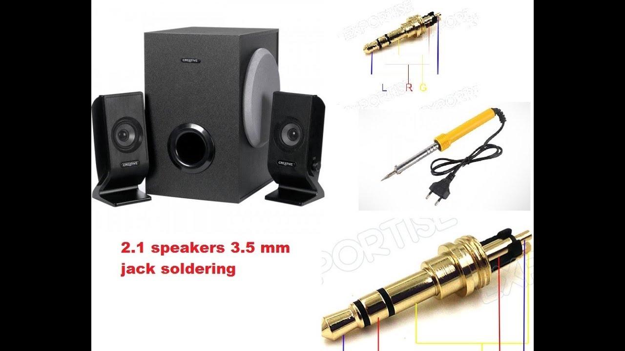 soldering 3 5mm jack of 2 1 creative speaker problem solved