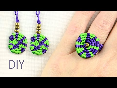 Multicolored Macrame Ring and Earrings - Tutorial thumbnail