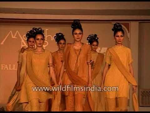Malini Sharma walks the ramp at Monisha Bajaj's fall-winter collection show in 1999
